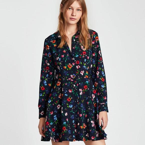0e3095cd Zara Dresses | Nwt Long Sleeve Floral Romper Mini Dress | Poshmark